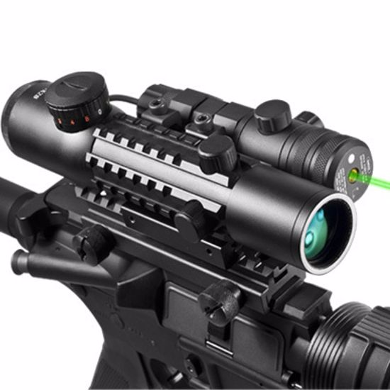 4x28mm IR Electro Sight Multi-Rail Tactical Rifle Scope Green Laser Combo By Barska