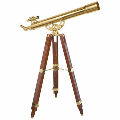 90080 36 Power Anchormaster Classic Brass Telescope w/ Mahogany Tripod By Barska