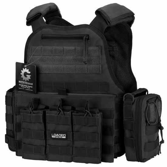VX-500 Combo Plate Carrier Vest with Mag and Medical Pouch (Black)
