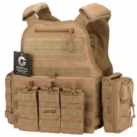 Picture of VX-500 Combo Plate Carrier Vest with Mag and Medical Pouch (FDE)