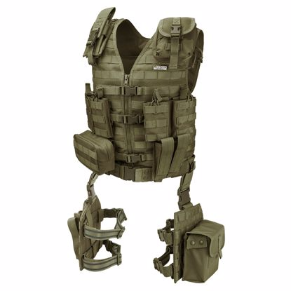Picture of Loaded Gear VX-100 Tactical Vest and Leg Platforms (OD Green)