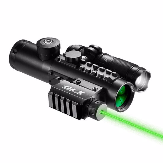 4x30mm IR Electro Sight Multi-Rail Tactical Scope Green Laser Light Combo By Barska