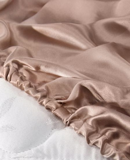 Picture of Aus Vio Silk Fitted Sheets - Pebble - Cal King Size