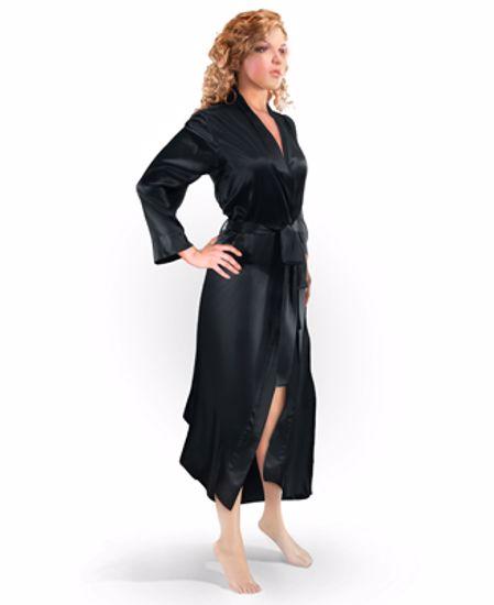 Aus Vio Silk Robe - Black -Medium/Large