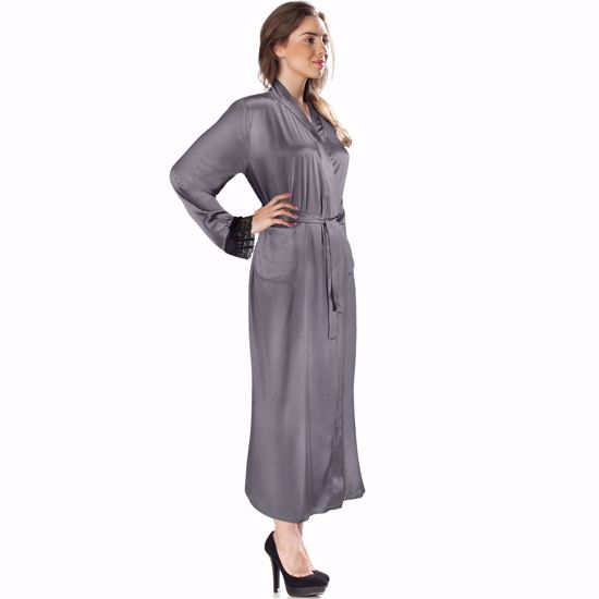 Aus Vio Gray Silk Robe with Black Lace M/L