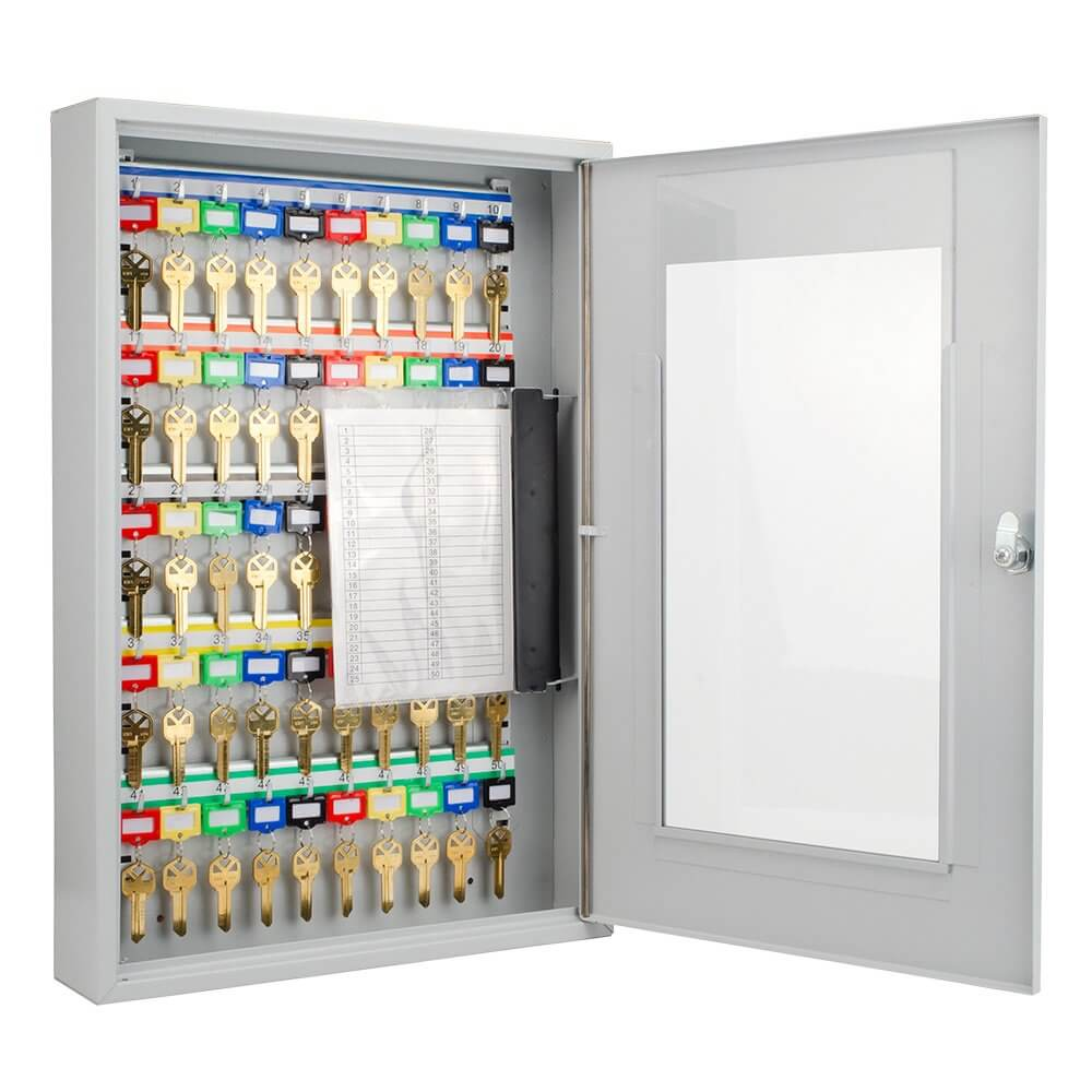 50 Position Key Cabinet with Glass Door By Barska