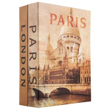 Paris and London Dual Book Lock Box with Key Lock