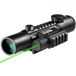 4x28mm IR Electro Sight Multi-Rail Tactical Rifle Scope GLX Green Laser Combo By Barska