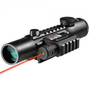 4x28mm IR Electro Sight Multi-Rail Tactical Rifle Scope GLX Red Laser Combo By Barska