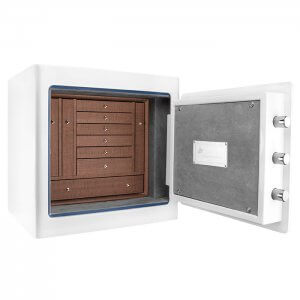 White Keypad Jewelry Safe, Dark Interior