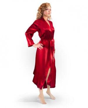 Aus Vio Silk Robe - Red - Small/Medium