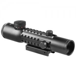 4x28mm IR Electro Sight Multi-Rail Tactical Rifle Scope Red Laser Combo By Barska