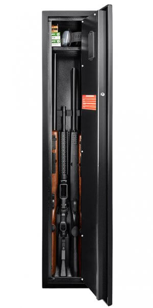 Quick Access Biometric Rifle Safe by Barska Open with Rifles