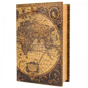Antique Map Book Lock Box