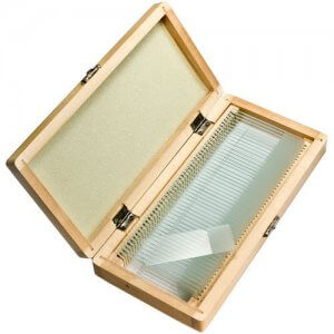50 Prepared Microscope Slides w/ Wooden Case By Barska