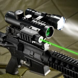 4x30mm IR Electro Sight Multi-Rail Tactical Scope Green Laser 210 Lumen Light Combo By Barska
