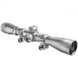 4x32mm Plinker-22 Silver Finish Rifle Scope with Rings by Barska