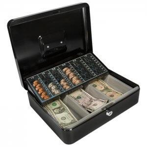 BARSKA Cash Box and Coin Tray with Key Lock CB11790