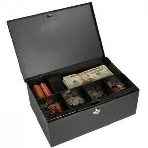 Cash Box and Six Compartment Tray with Key Lock