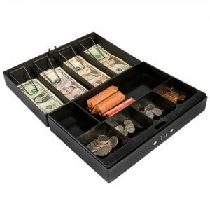Cash Box & Six Compartment Tray, Four Bill Holder