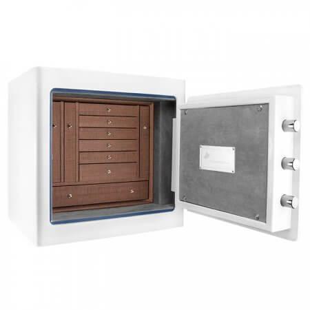 White Keypad Jewelry Safe, Dark Interior