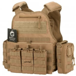 VX-500 Plate Carrier Vest with Mag and Medical Pouch (FDE)