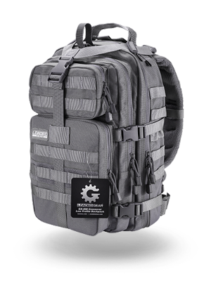 gray tactical backpack